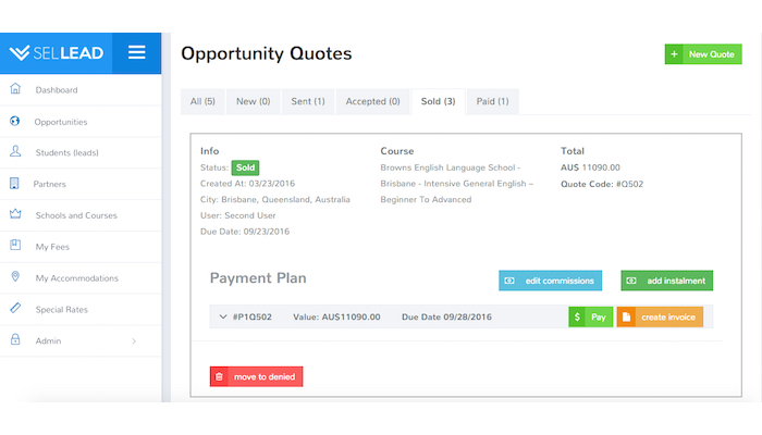 ERP for Schools and Student Agencies - control who is paying in instalments