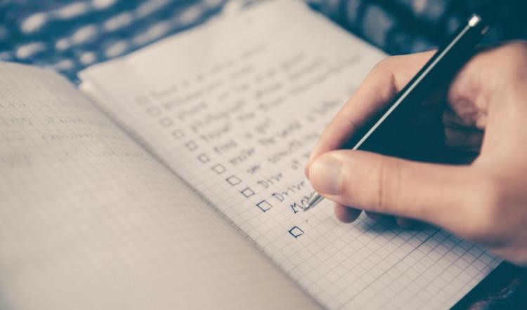 planejamento de ações através de checklist