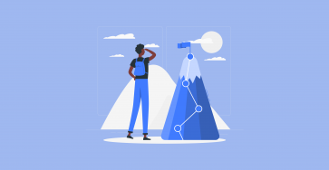 cartoon of a guy looking at a moutain representing challenges and milestones